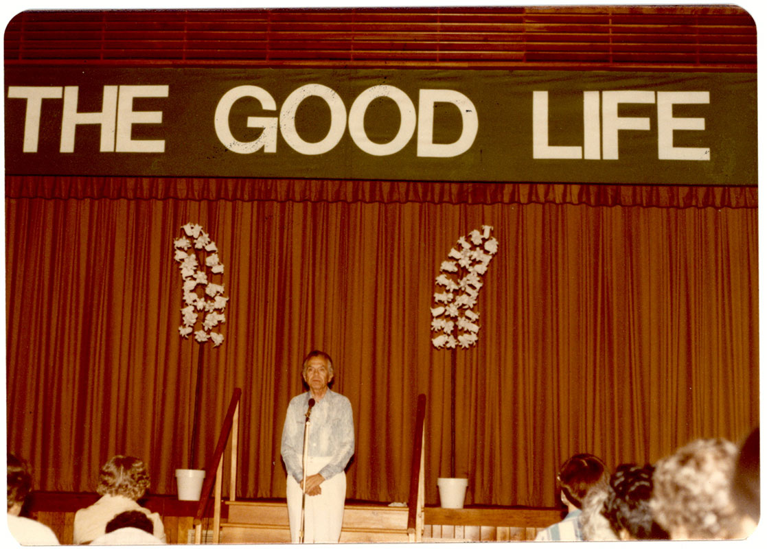 "Eric Butterworth led the week-long retreat ""The Good Life."" Butterworth's retreats were especially popular and he originated spiritual therapy workshops, which he conducted for over 35 years."