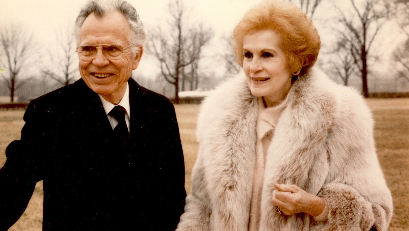 "Eric and Olga Butterworth at the groundbreaking ceremony for the new Silent Unity building at Unity Village, Missouri. Butterworth gave a keynote address titled ""Light"" in the Activities Center at Unity Village, Missouri."