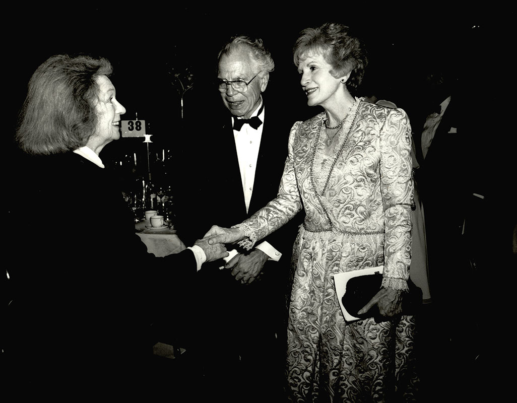Geraldine Fitzgerald met Eric and Olga Butterworth at a New York City event.  Fitzgerald had a long career on Broadway and in a variety of American films.